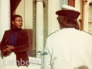 OLIVE MORRIS WITH POLICE, 2 TALMA ROAD, BRIXTON