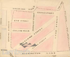 PLAN OF FORMER VAUXHALL GARDENS SITE, VAUXHALL
