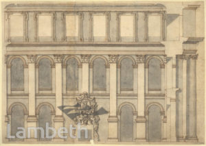 NICHOLAS HAWKSMOOR DRAWING: BLENHEIM PALACE HALL