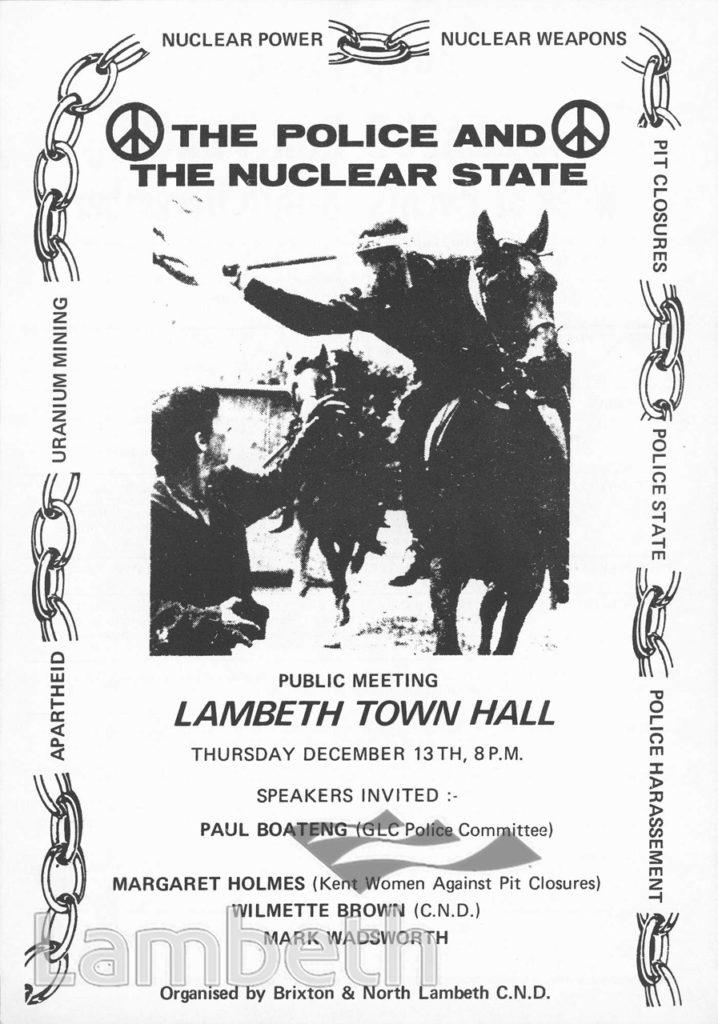CND MEETING, LAMBETH TOWN HALL, BRIXTON