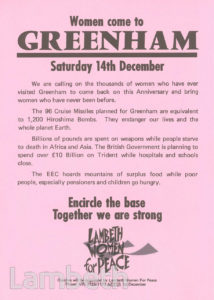 LAMBETH WOMEN FOR PEACE: GREENHAM COMMON PROTEST