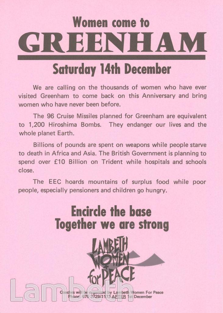 LAMBETH WOMEN FOR PEACE: GREENHAM COMMON PROTEST