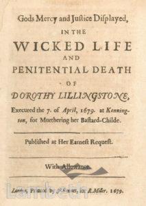DOROTHY LILLINGSTONE EXECUTION, KENNINGTON COMMON
