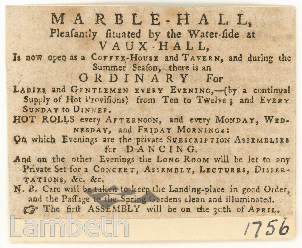 ADVERTISEMENT, MARBLE HALL, VAUXHALL