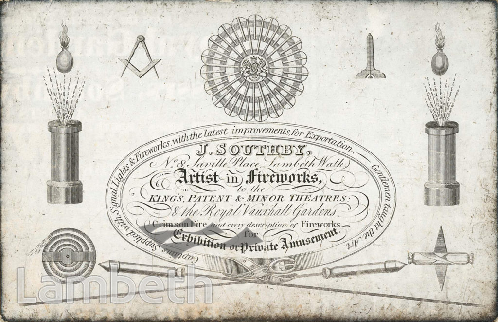 J. SOUTHBY FIREWORKS TRADECARD, SAVILLE PLACE, LAMBETH