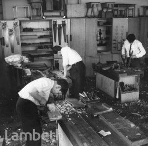 WOODWORK CLASS, LAMBETH SECONDARY SCHOOL