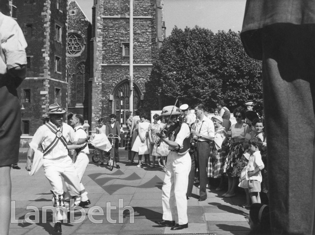 MORRIS DANCERS, LAMBETH FESTIVAL WEEK, LAMBETH PALACE ROAD
