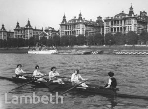WOMEN ROWERS, LAMBETH REGATTA, RIVER THAMES