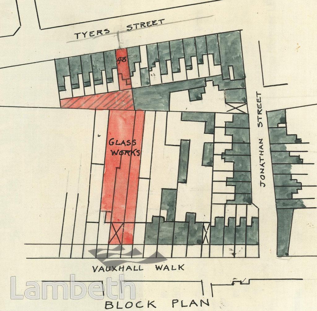 PLAN: LAMBETH GLASSWORKS, VAUXHALL WALK, LAMBETH