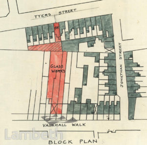 PLAN: LAMBETH GLASSWORKS, VAUXHALL WALK, LAMBETH