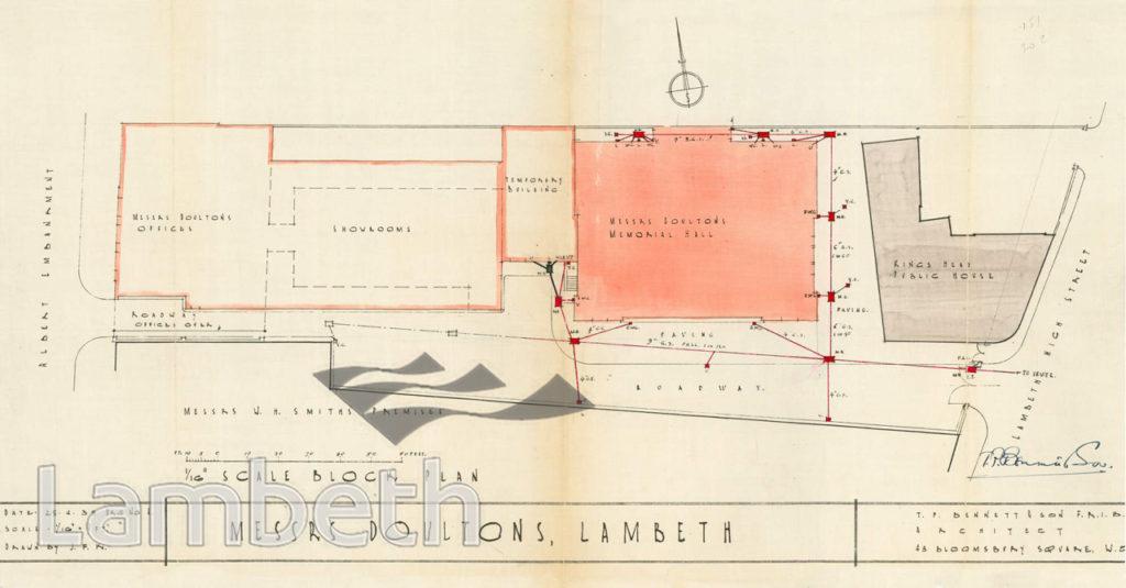 MEMORIAL HALL, MESSRS DOULTON, LAMBETH HIGH STREET