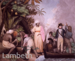 CAPTAIN WILLIAM BLIGH RECEIVING BREADFRUIT TREES, TAHITI
