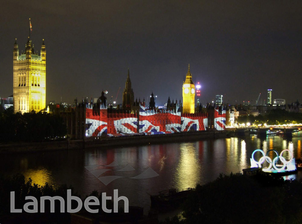 OLYMPIC RINGS, ALBERT EMBANKMENT & PALACE OF WESTMINSTER