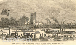 OXFORD & CAMBRIDGE CUTTER RACE, RIVER THAMES, LAMBETH