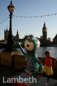 OLYMPIC MASCOT, EMBANKMENT, COUNTY HALL, WATERLOO