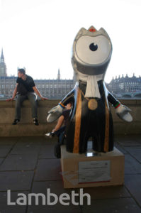 OLYMPIC MASCOT, ALBERT EMBANKMENT, LAMBETH