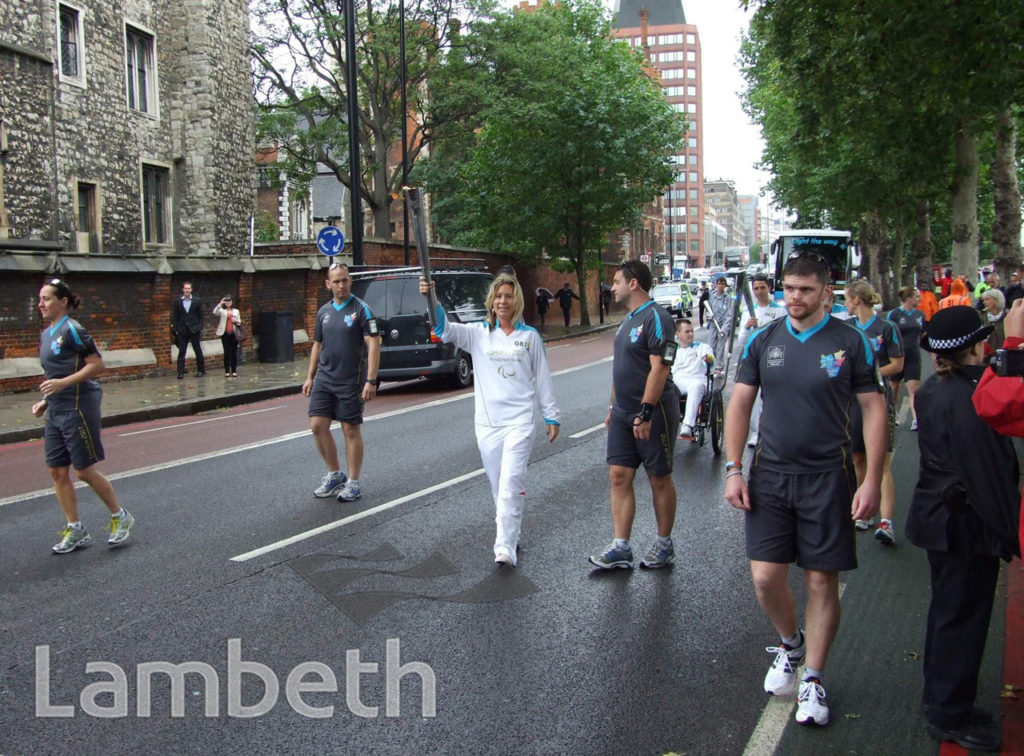 PARALYMPIC TORCH RELAY, LAMBETH PALACE ROAD, LAMBETH