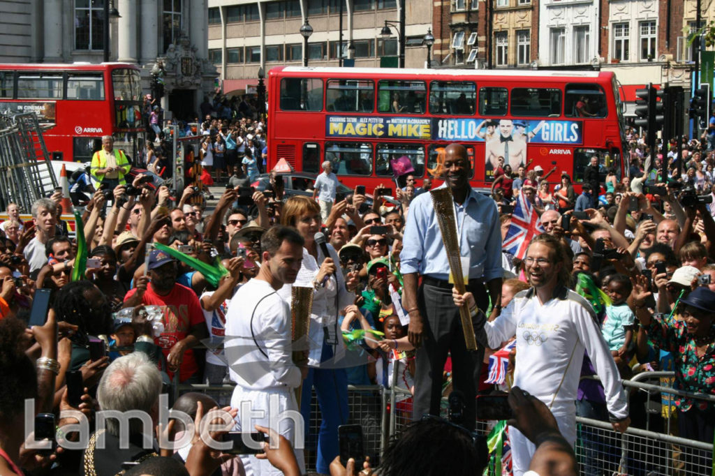 OLYMPIC TORCH CHANGE-OVER, BRIXTON OVAL, BRIXTON