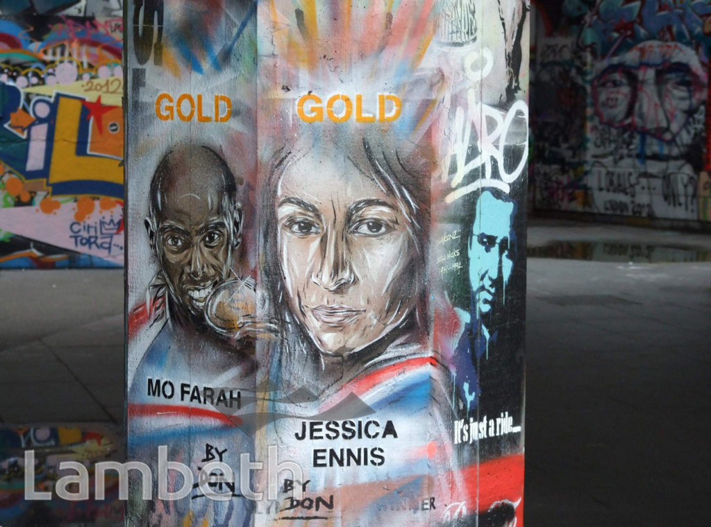 MO FARRAH & JESSICA ENNIS, OLYMPIC GRAFFITI, SOUTH BANK