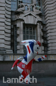 OLYMPIC MASCOT, COUNTY HALL, WESTMINSTER BRIDGE ROAD