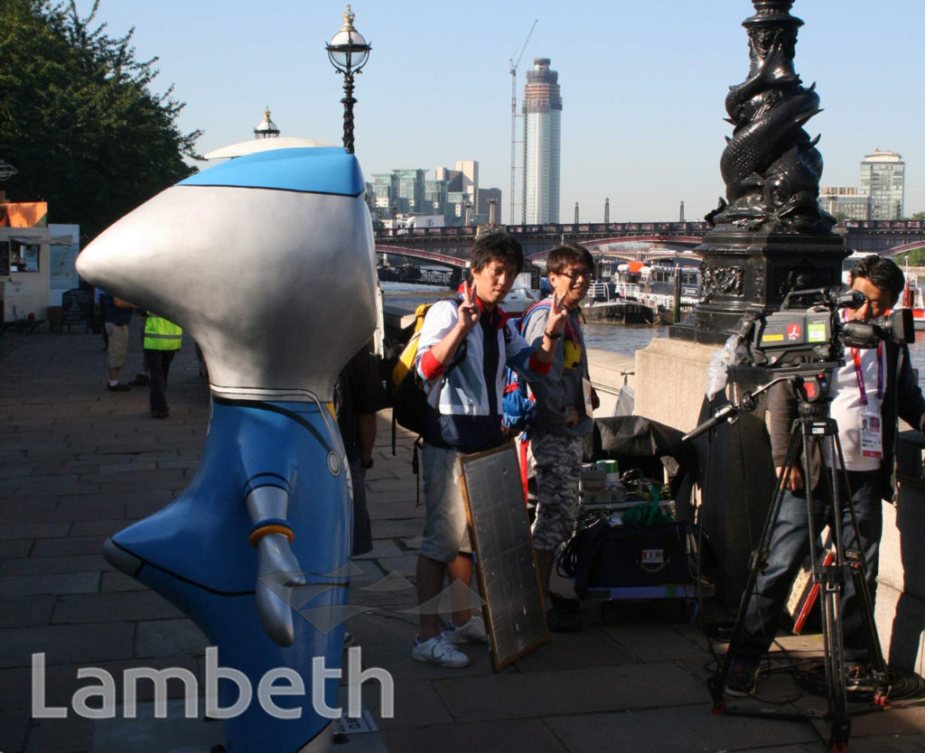 JAPANESE TV CREW, ALBERT EMBANKMENT WALKWAY, LAMBETH