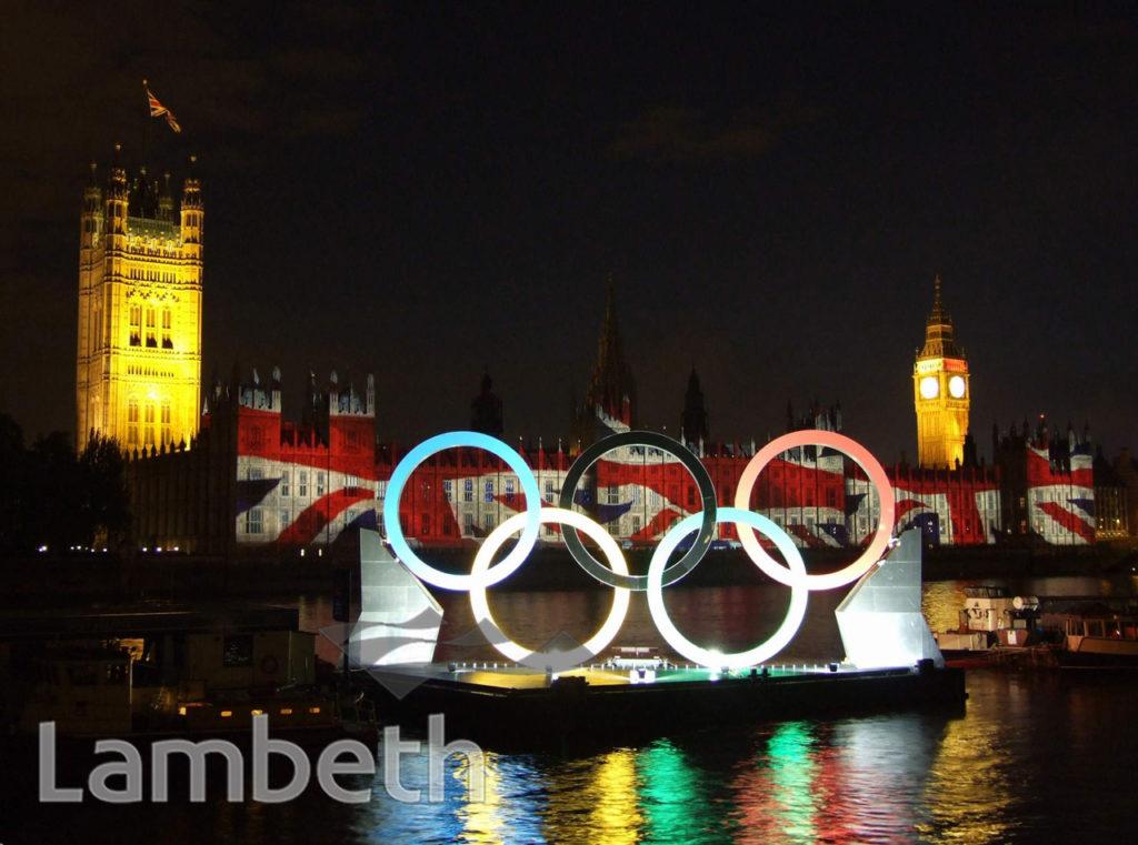OLYMPIC RINGS AND LIGHTSHOW, ALBERT EMBANKMENT, LAMBETH