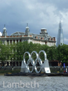 OLYMPIC RINGS, ALBERT EMBANKMENT, LAMBETH