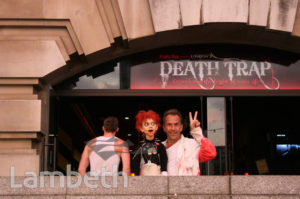 DEATH TRAP PERFORMER, COUNTY HALL, SOUTH BANK