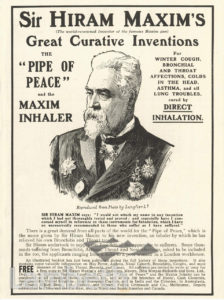 SIR HIRAM MAXIM, 'PIPE OF PEACE' ADVERTISEMENT