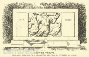 JACK HOBBS CARTOON, PROPOSED MEMORIAL