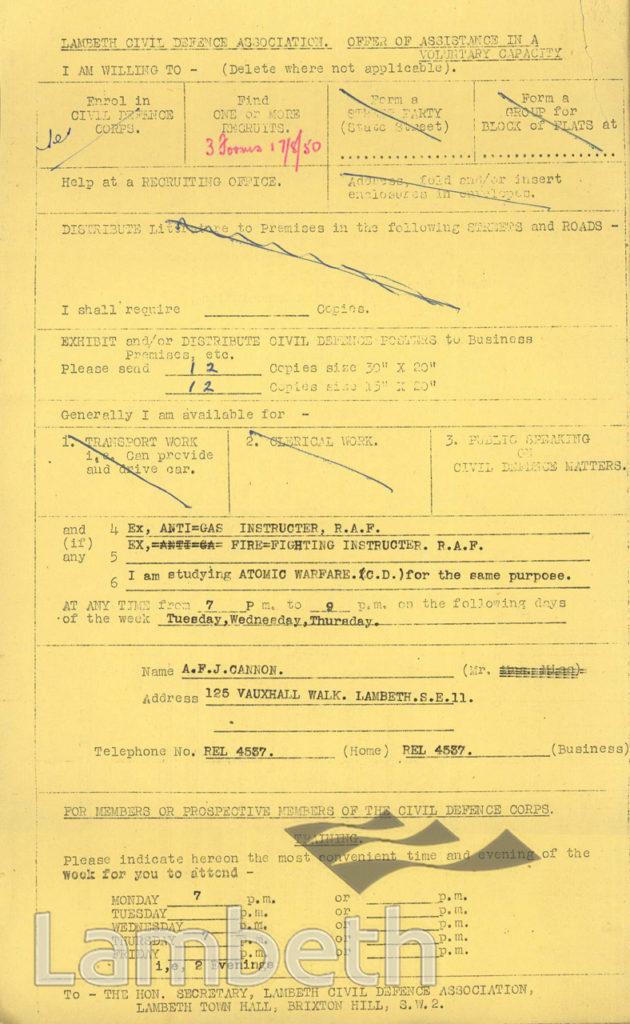 CIVIL DEFENCE VOLUNTEER : MR A.CANNON, VAUXHALL