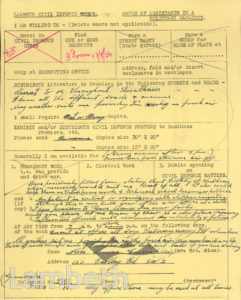 CIVIL DEFENCE VOLUNTEER: MRS CURSON, BARTLEY ROAD, BRIXTON