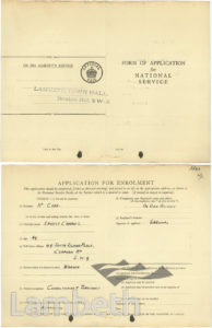 WORLD WAR II, NATIONAL SERVICE APPLICATION, ERNEST COAD