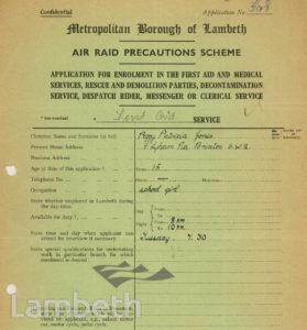 WORLD WAR II, ARP SCHEME APPLICATION: PEGGY JONES, BRIXTON