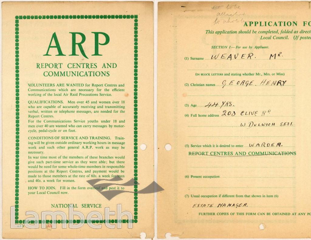 WORLD WAR II ARP APPLICATION: GEORGE WEAVER, WEST DULWICH