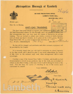 WORLD WAR II ANTI-GAS TRAINING; MR BRENCHLEY, WEST DULWICH