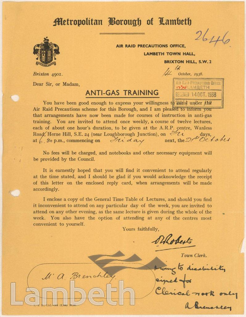 WORLD WAR II ANTI-GAS TRAINING; MR BRENCHLEY, WEST DULWICH