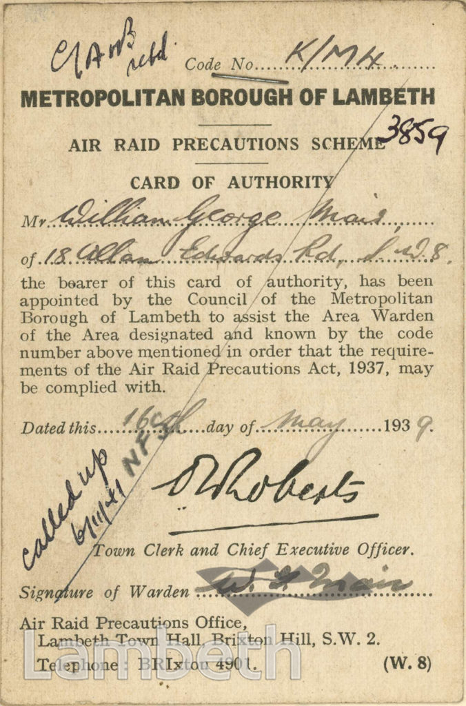 WORLD WAR II ARP AUTHORITY CARD: WILLIAM MAIR, SOUTH LAMBETH
