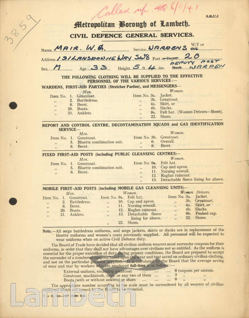 WORLD WAR II CIVIL DEFENCE CLOTHING LIST FOR WILLIAM MAIR