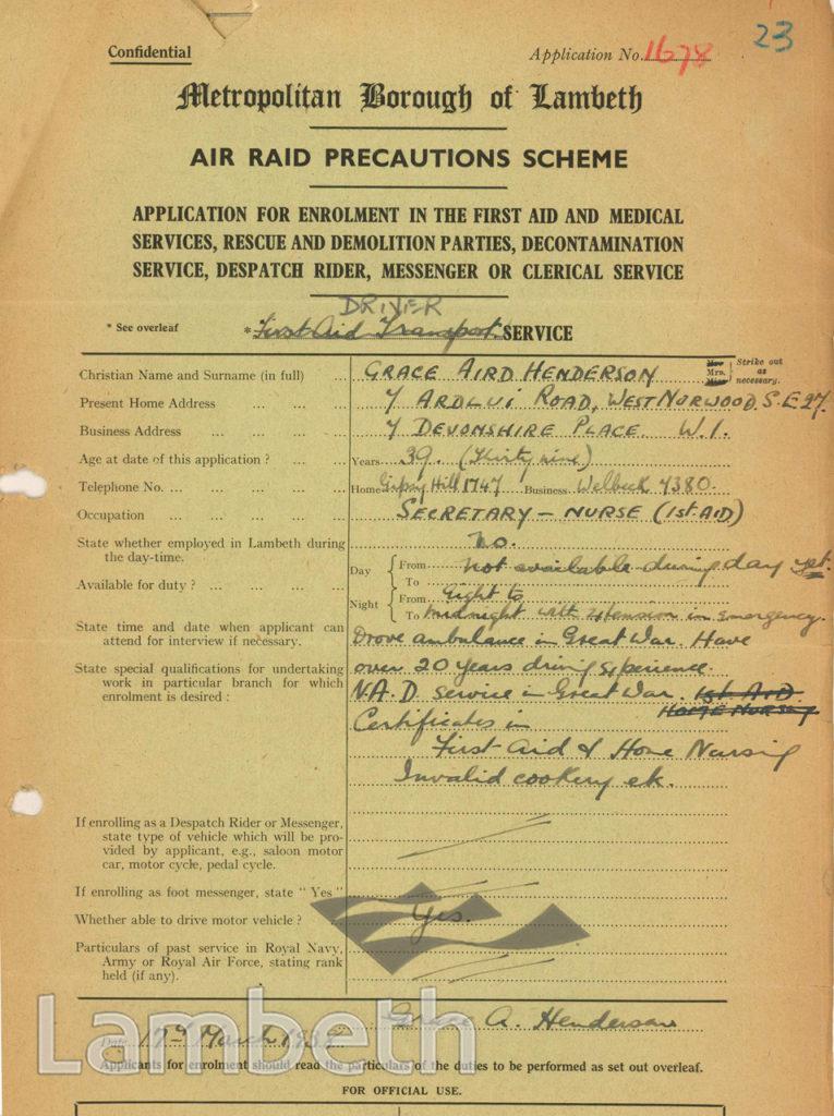 WORLD WAR II ARP FORM: GRACE HENDERSON, WEST NORWOOD