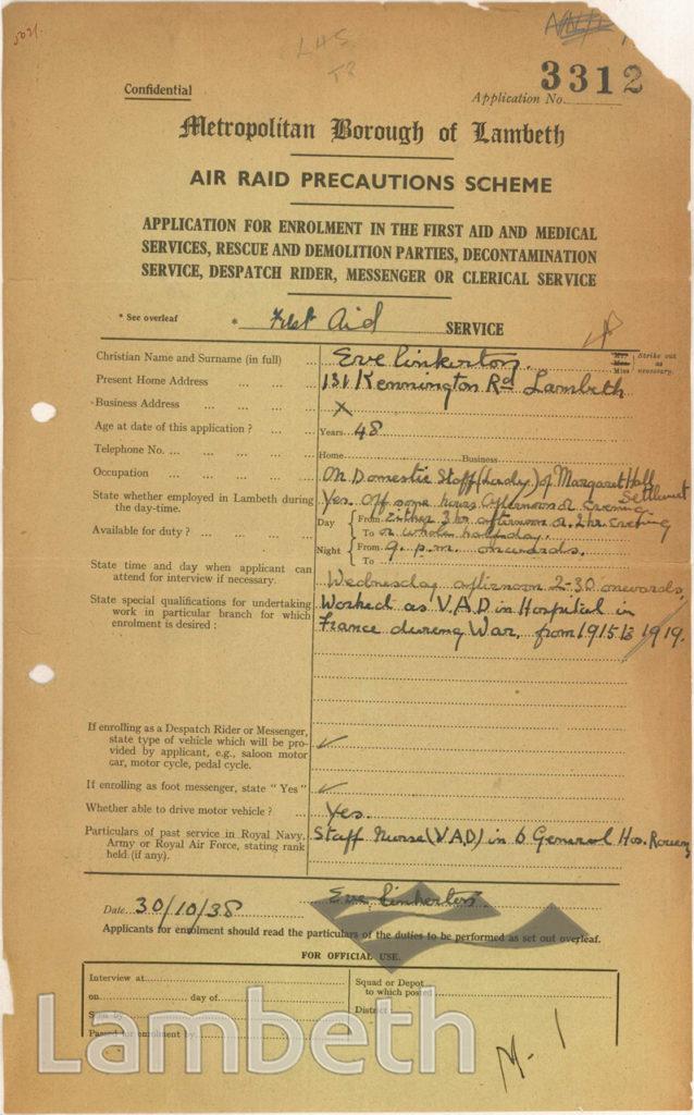 WORLD WAR II ARP FORM: EVE PINKERTON, KENNINGTON RD, LAMBETH