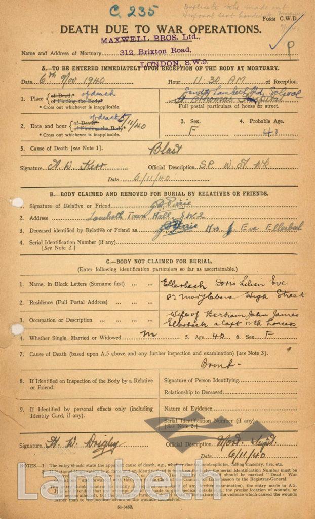 WORLD WAR II DEATH NOTICE: DORIS ELLERBECH, SOUTH LAMBETH
