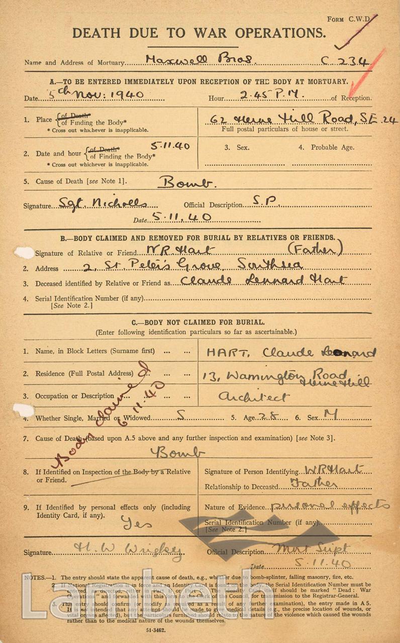 WORLD WAR II DEATH NOTICE: CLAUDE HART, HERNE HILL