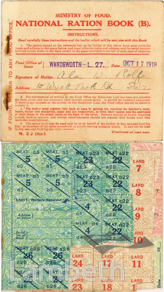 WORLD WAR I RATION BOOK; ALAN ROLFE, STREATHAM HILL