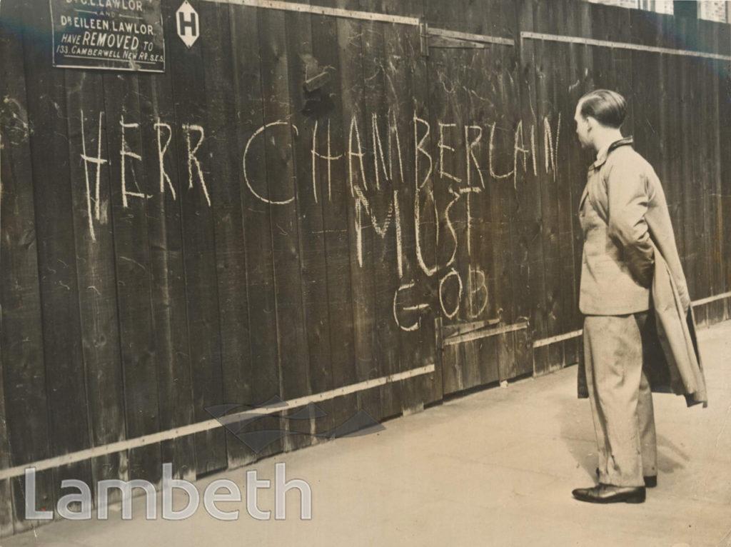 ANTI-CHAMBERLAIN GRAFFITI, 272 KENNINGTON PARK ROAD