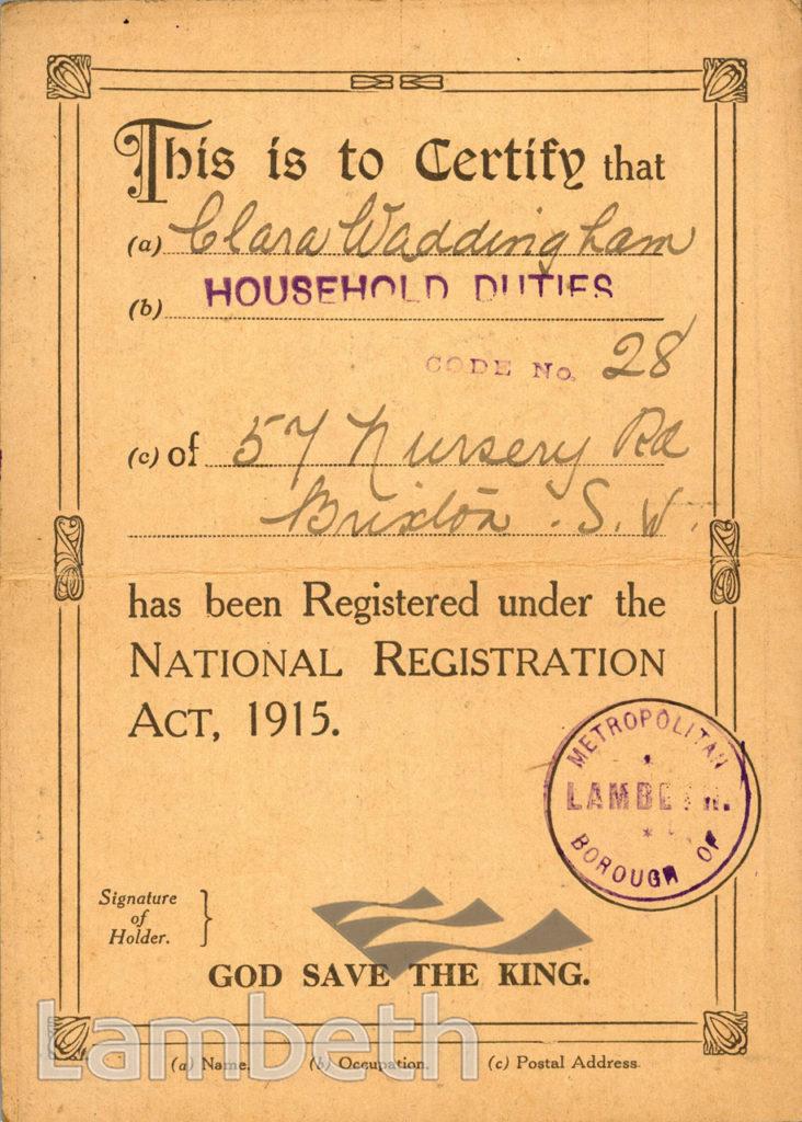 WWI REGISTRATION CERTIFICATE: CLARA WADDINGHAM, BRIXTON