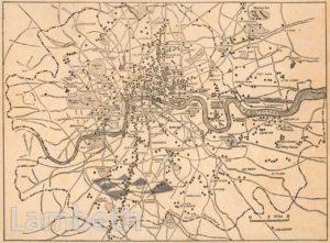 LONDON BOMB MAP, WORLD WAR I
