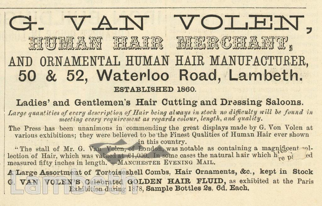 G. VAN HOLEN, HUMAN HAIR MERCHANT, WATERLOO ROAD