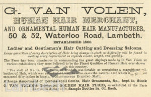 G. VAN HOLEN, HUMAN HAIR MERCHANT, WATERLOO ROAD