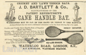 J D BARTLETT, CRICKET & TENNIS BAT MAKER, WATERLOO ROAD